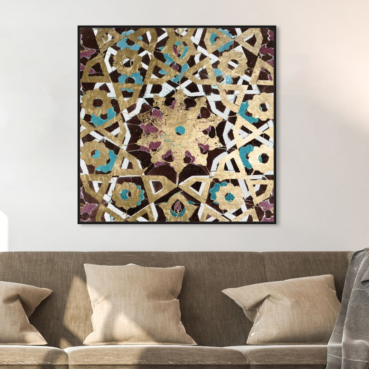 Hanging view of Falling into Place featuring abstract and patterns art.