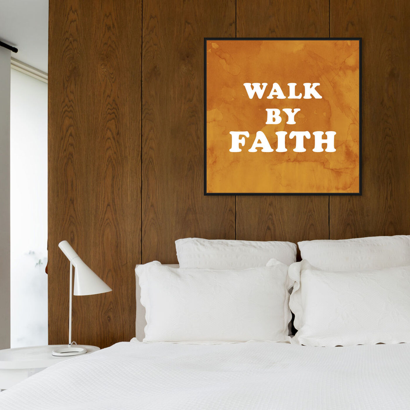 Hanging view of Walk By Faith featuring typography and quotes and inspirational quotes and sayings art.
