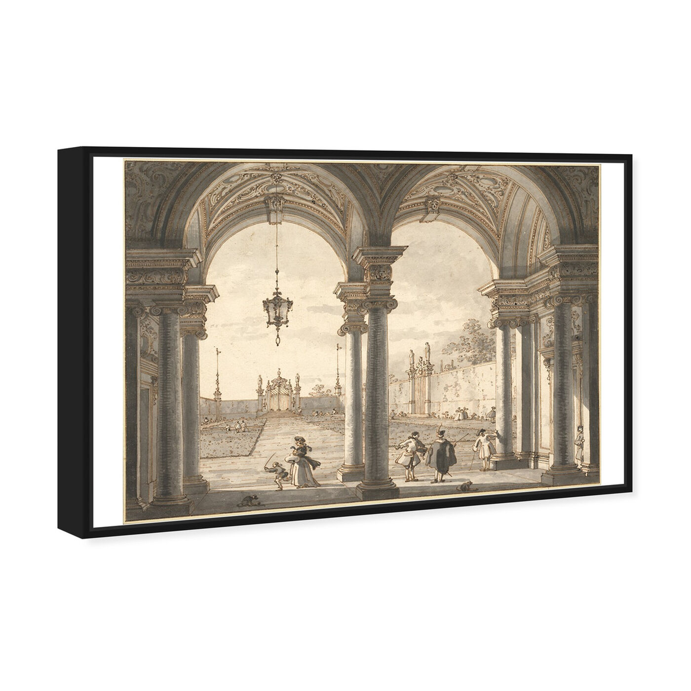 Angled view of Canaletto - View Through a Baroque Colonnade featuring classic and figurative and classic art.