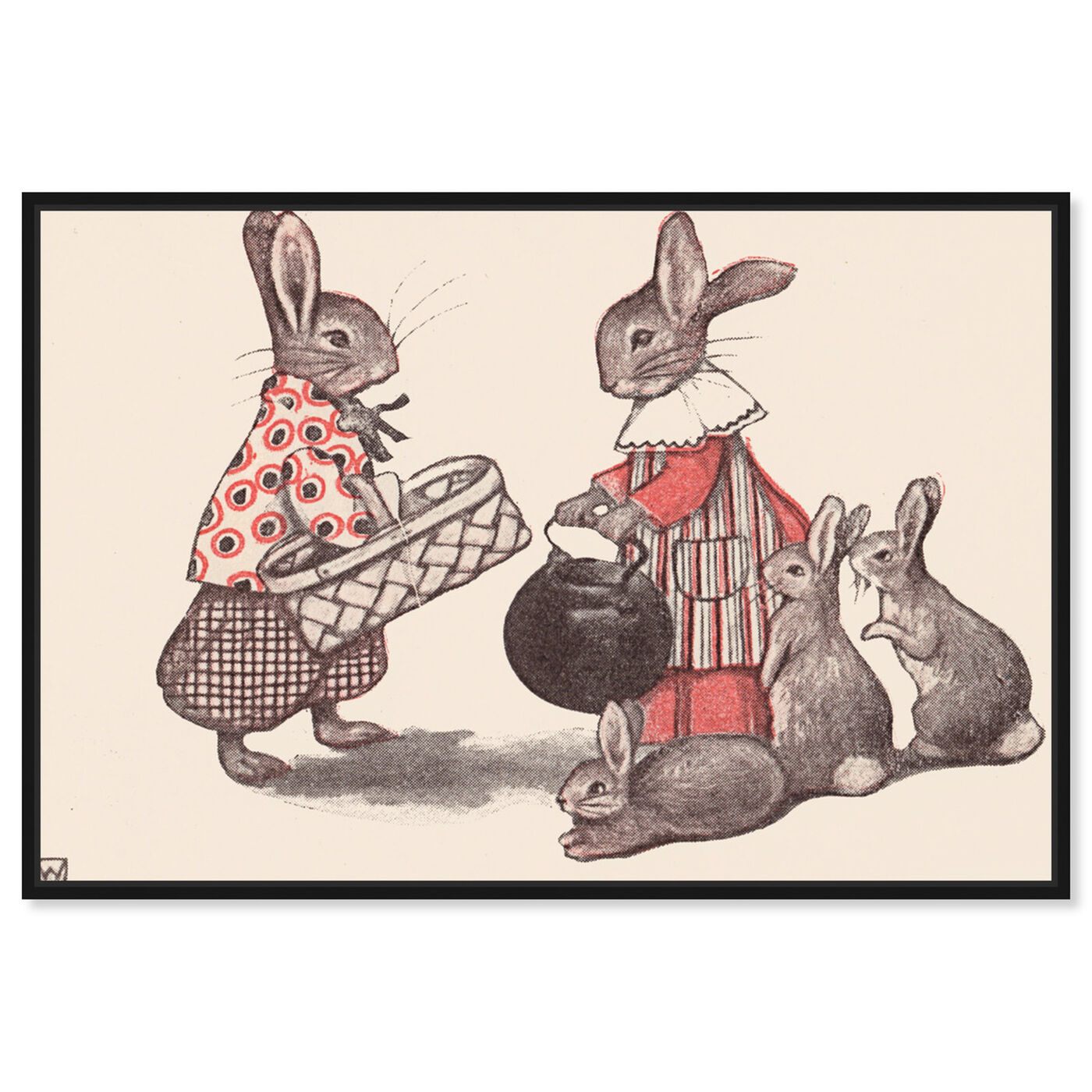 Front view of Rabbit Family featuring animals and farm animals art.