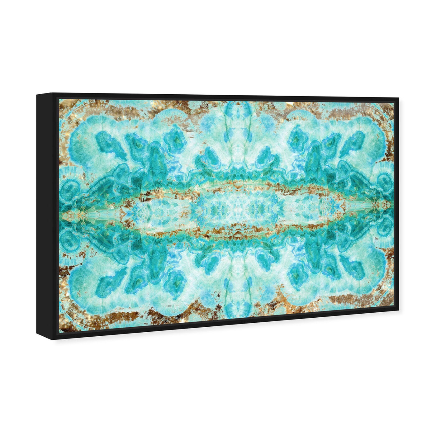 Angled view of Sumatra featuring abstract and crystals art.