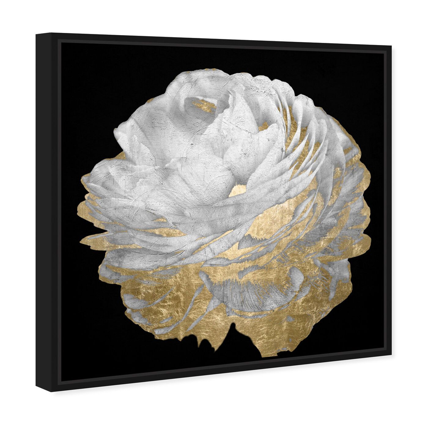 Angled view of Gold and Light Floral featuring floral and botanical and florals art.