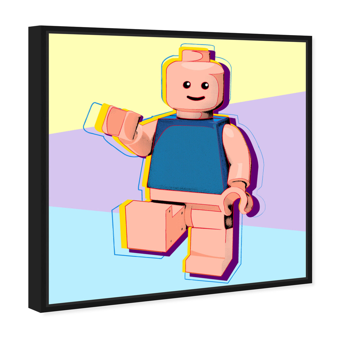 Angled view of Toy Man featuring symbols and objects and toys art.