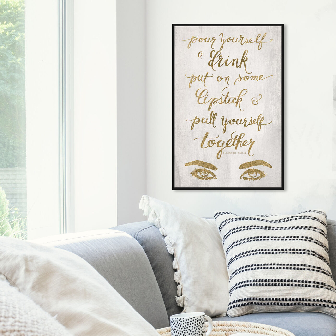Hanging view of Put On Some Lipstick GOLD featuring typography and quotes and fashion quotes and sayings art.