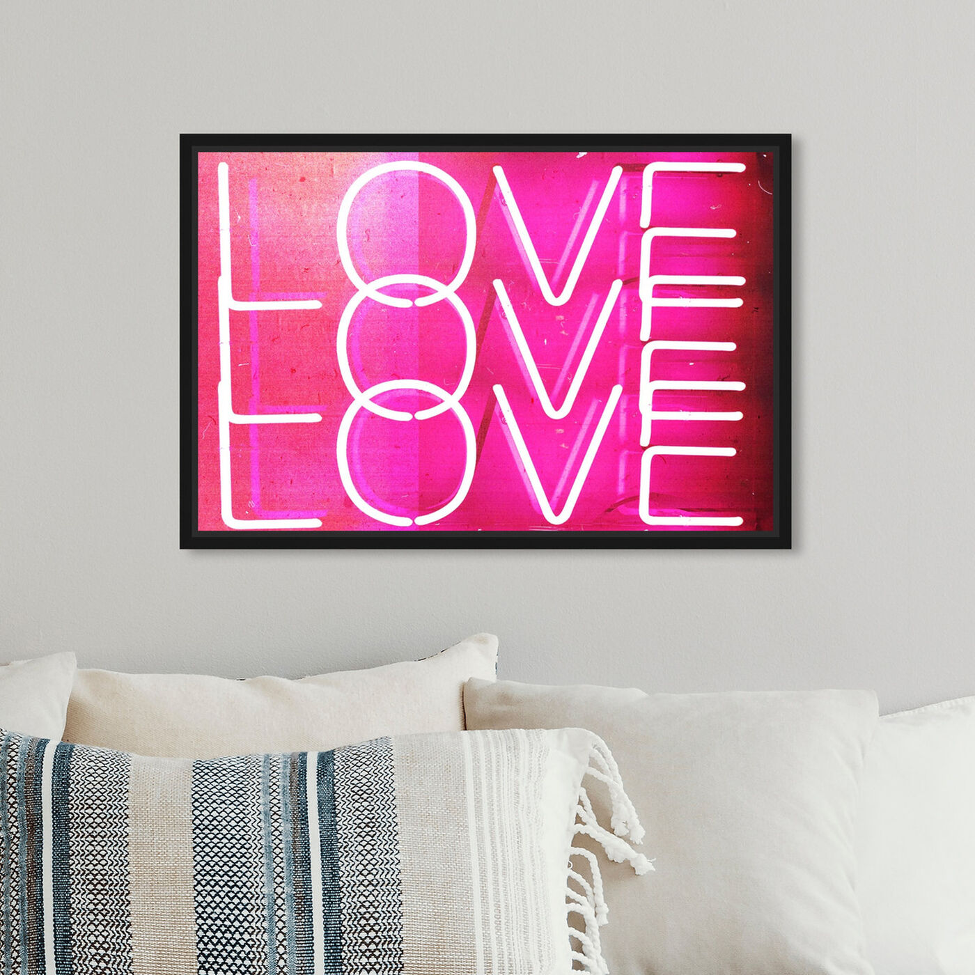 Hanging view of Love Neon Lights featuring typography and quotes and love quotes and sayings art.