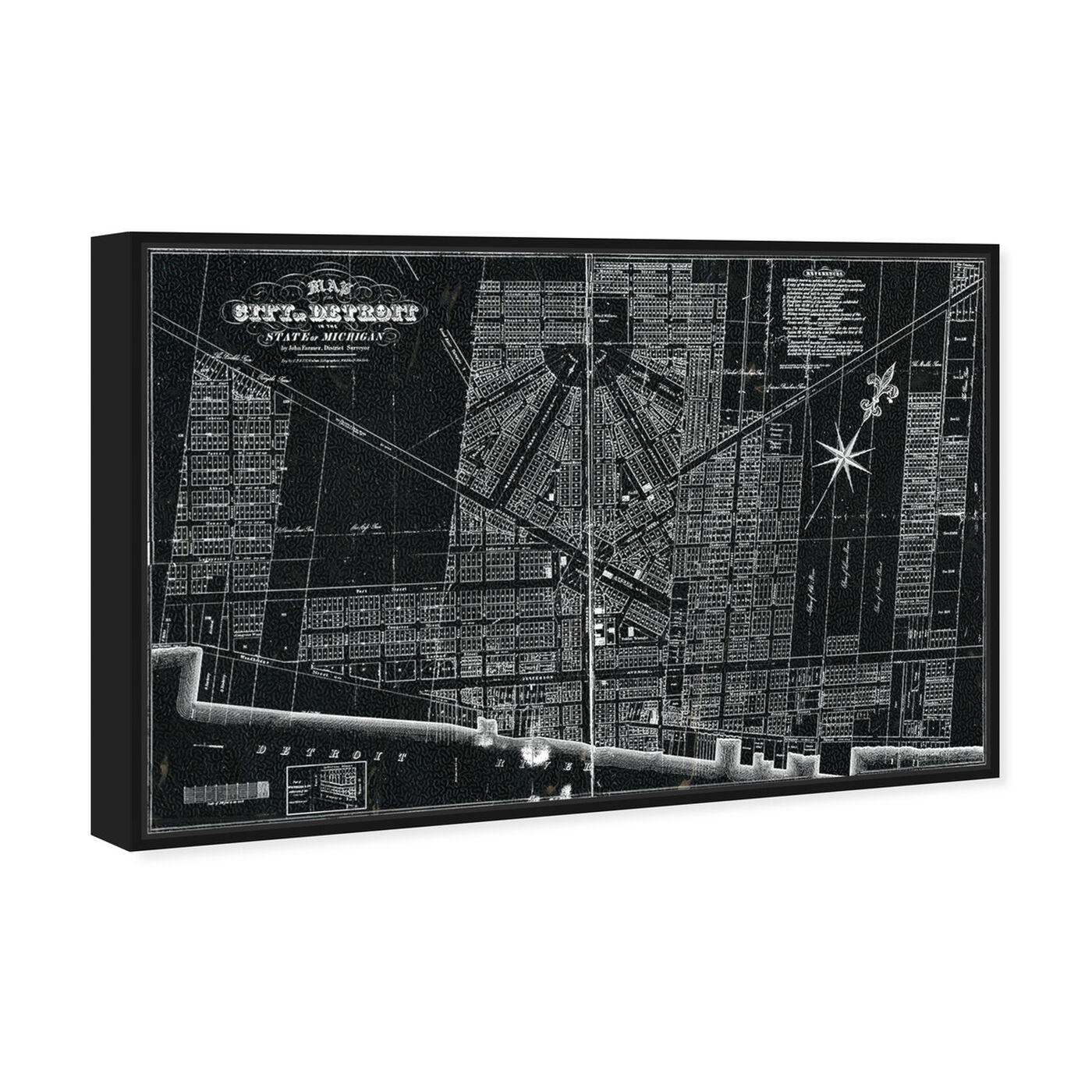 Angled view of Detroit Map 1835 featuring maps and flags and us cities maps art.