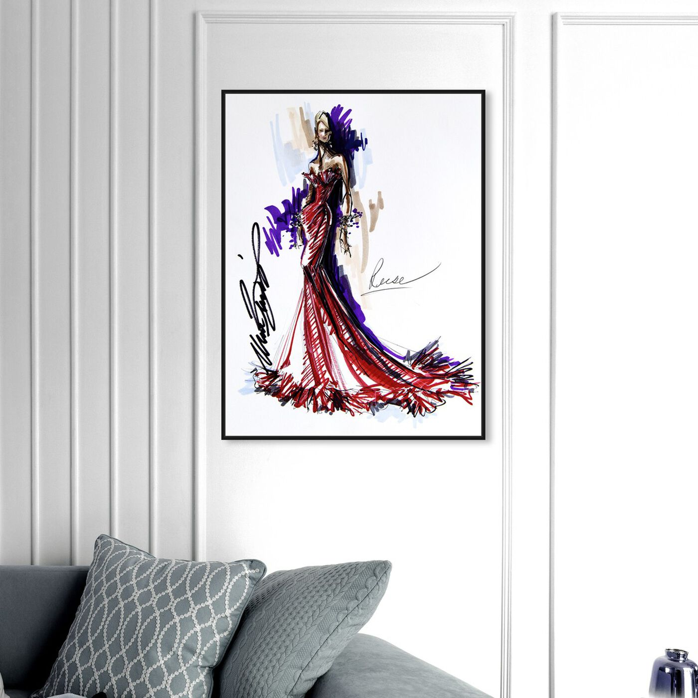 Hanging view of Mark Zunino - Reese featuring fashion and glam and sketches art.