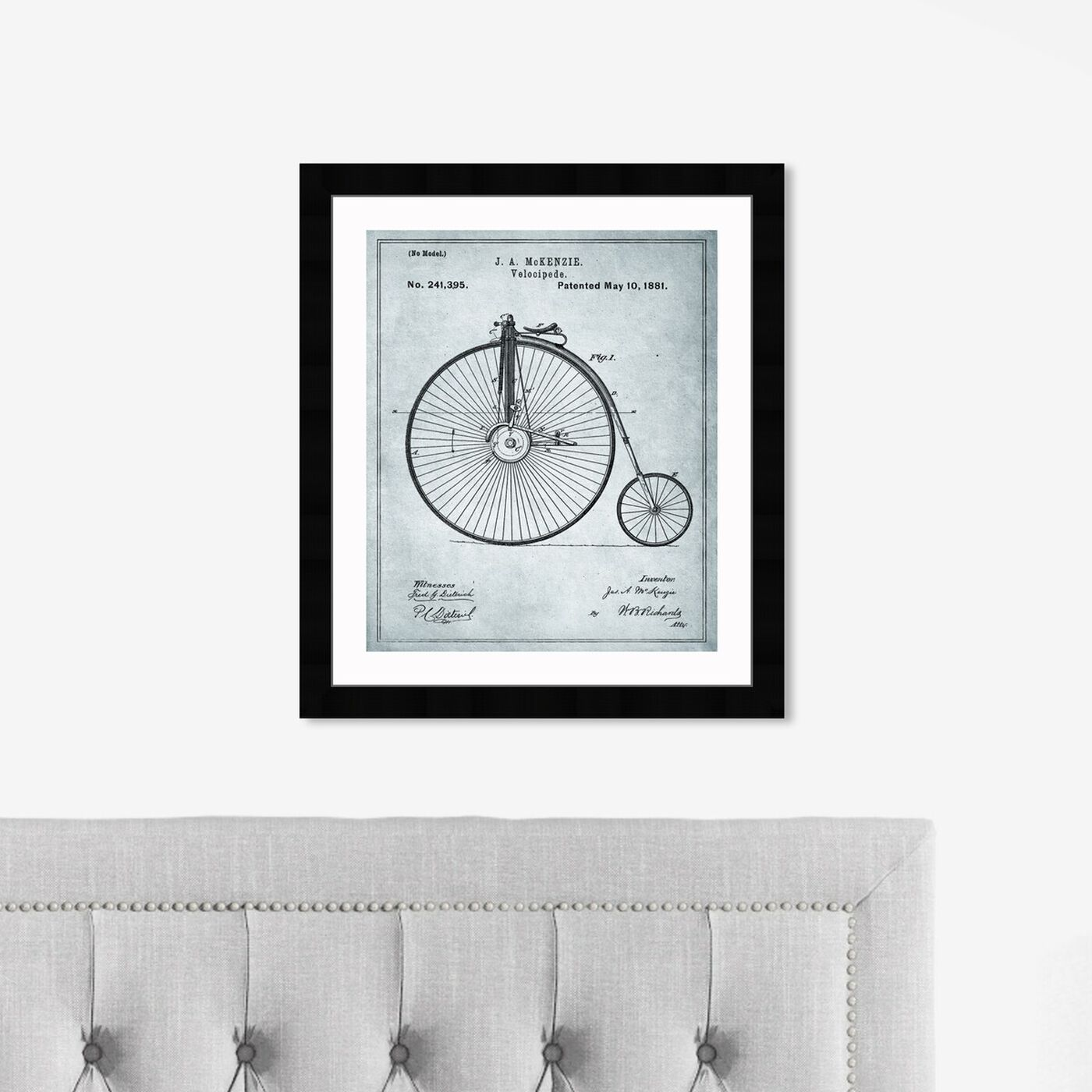 Hanging view of McKenzie Velocipede, 1881 - Gray featuring transportation and bicycles art.