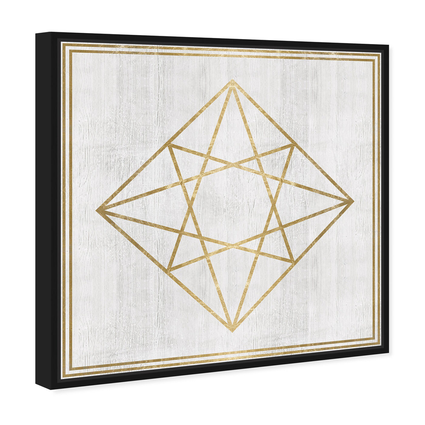 Angled view of Whitewash Wood Geometric Diamond featuring abstract and geometric art.