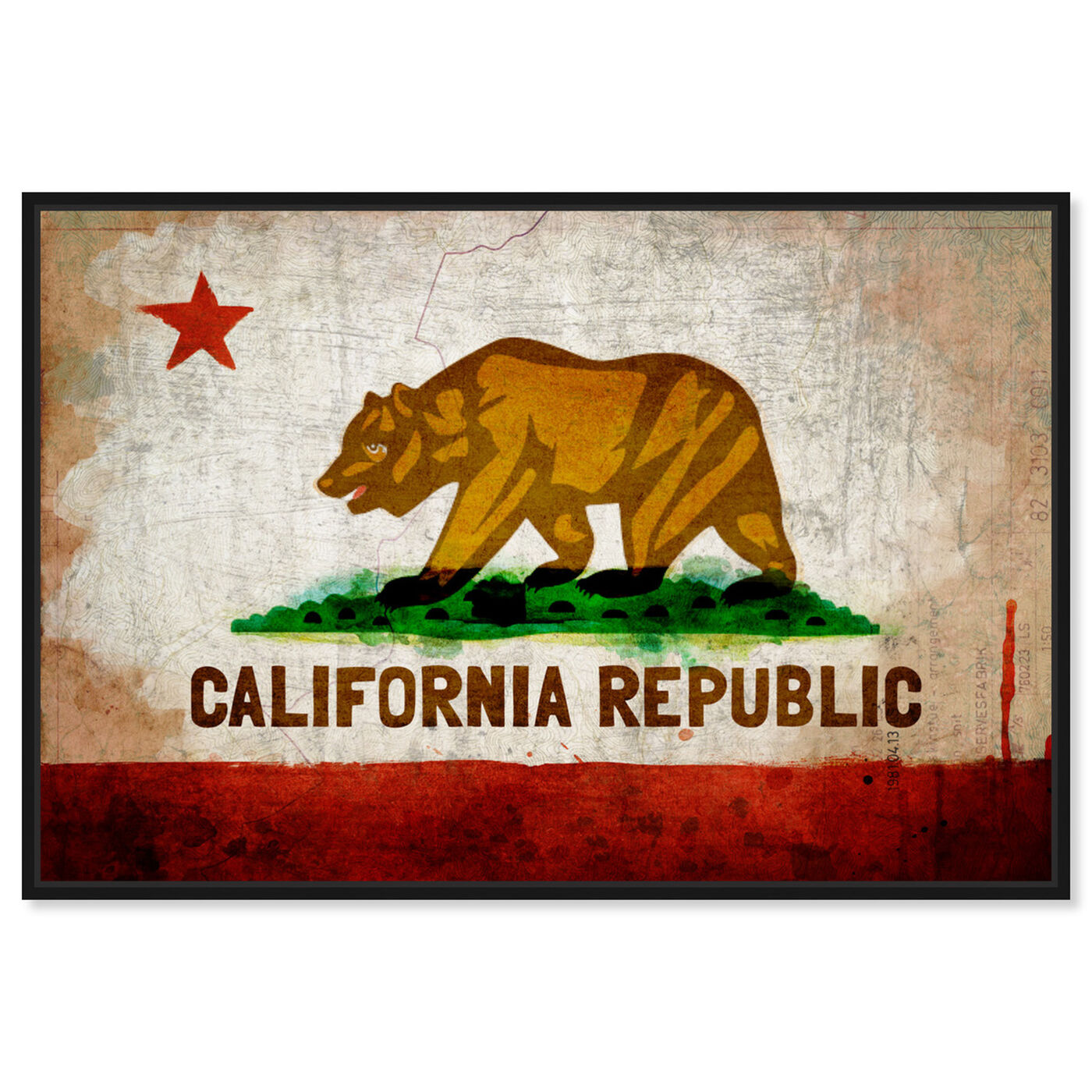 Front view of California Republic featuring maps and flags and us states flags art.