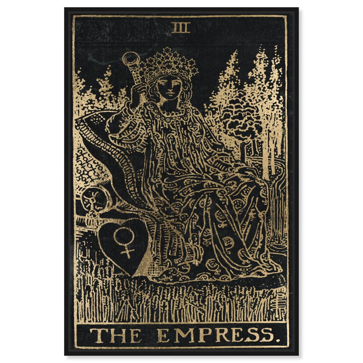 Front view of The Empress featuring spiritual and religious and zodiac art.