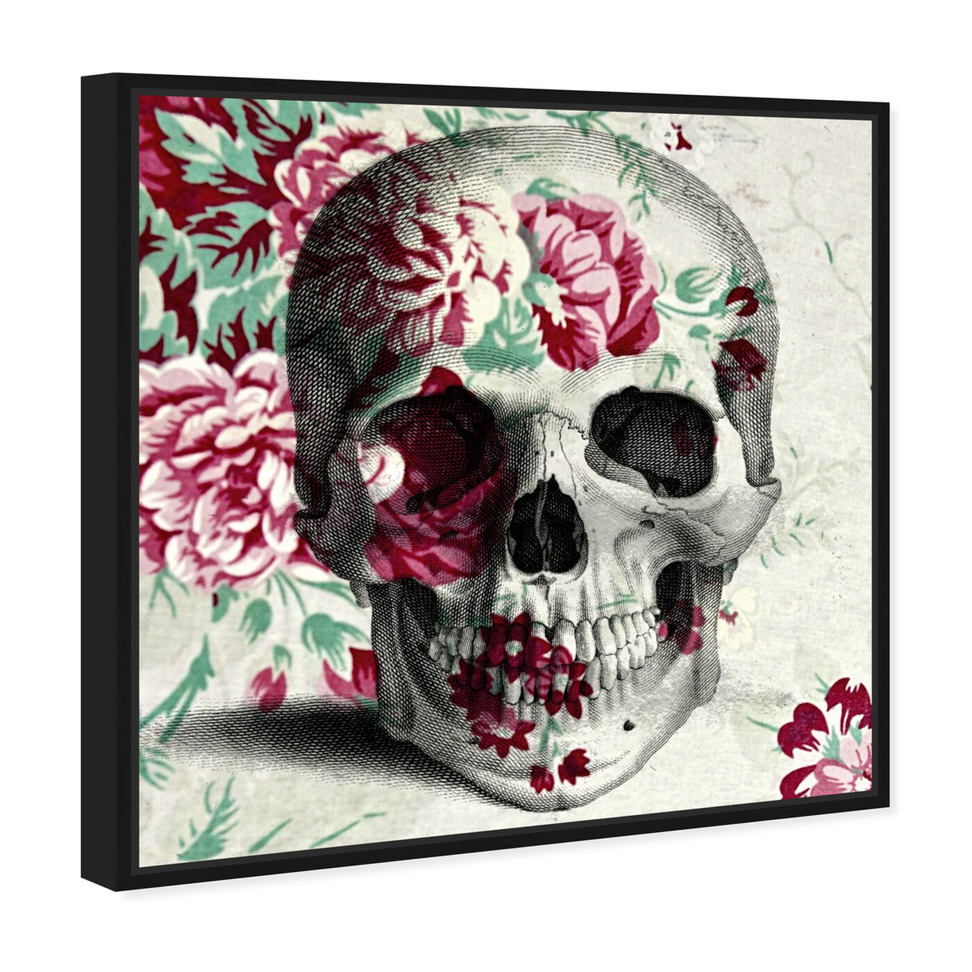 Angled view of Spring Skull featuring symbols and objects and skull art.