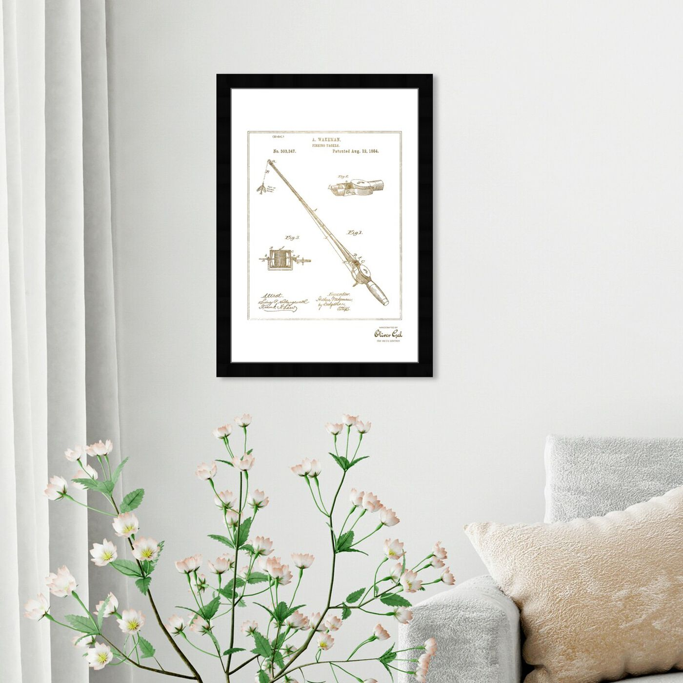 Hanging view of FISHING ROD 1884 Gold featuring entertainment and hobbies and fishing art.