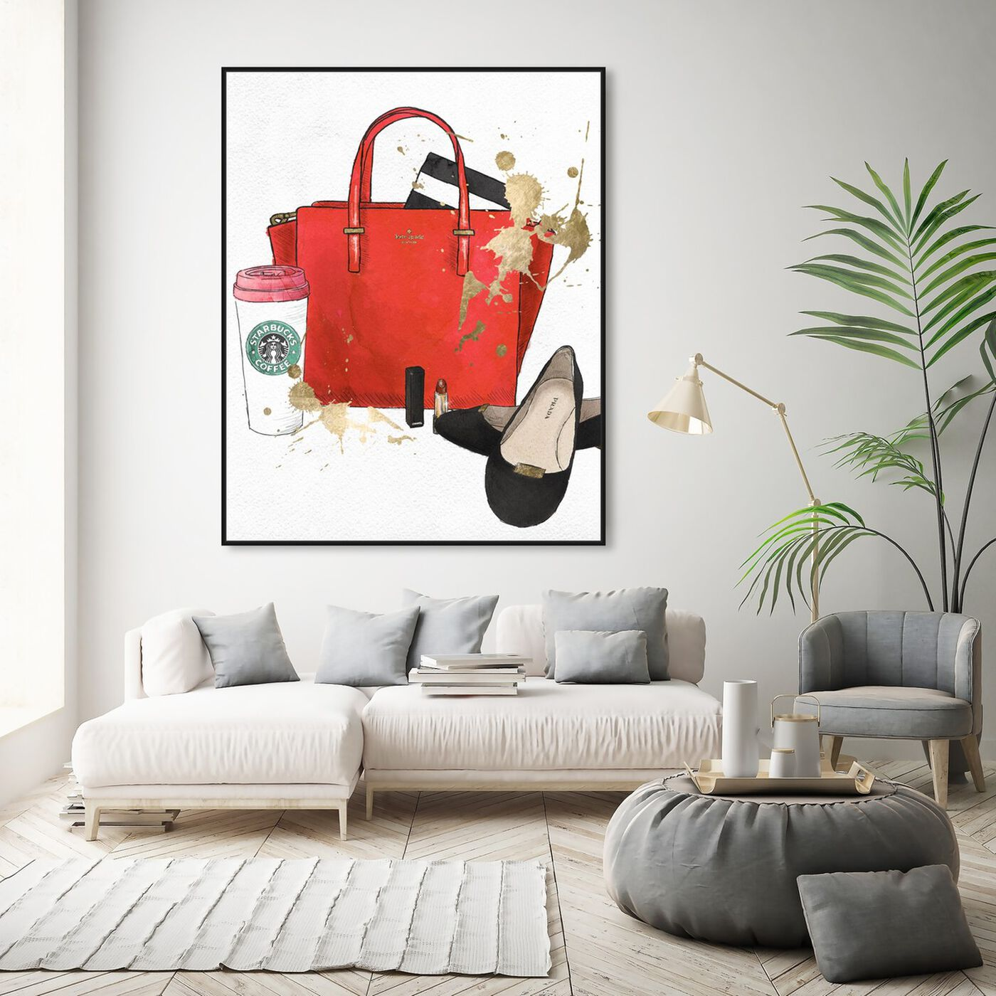 Hanging view of Bags, Shoes and Coffee Red featuring fashion and glam and essentials art.