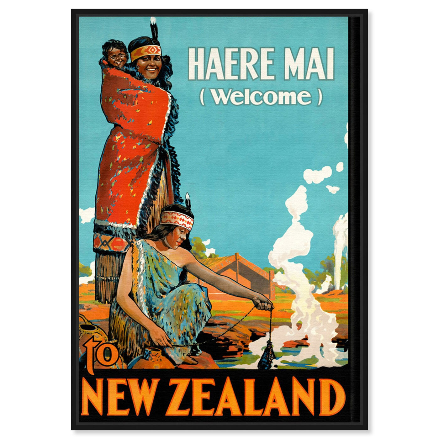 Front view of New Zealand featuring advertising and posters art.
