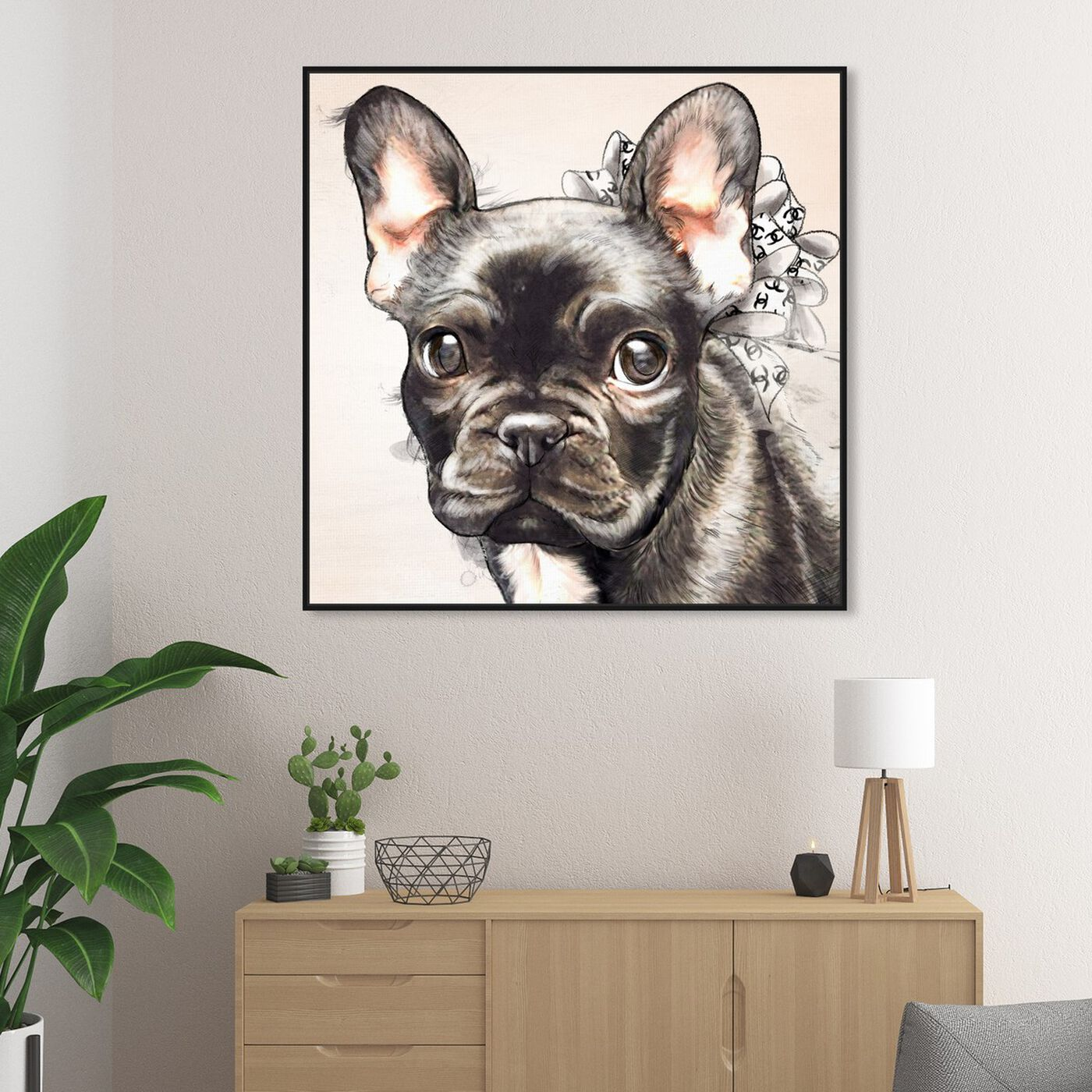 Hanging view of Frenchie Bow Watercolor Black featuring animals and dogs and puppies art.