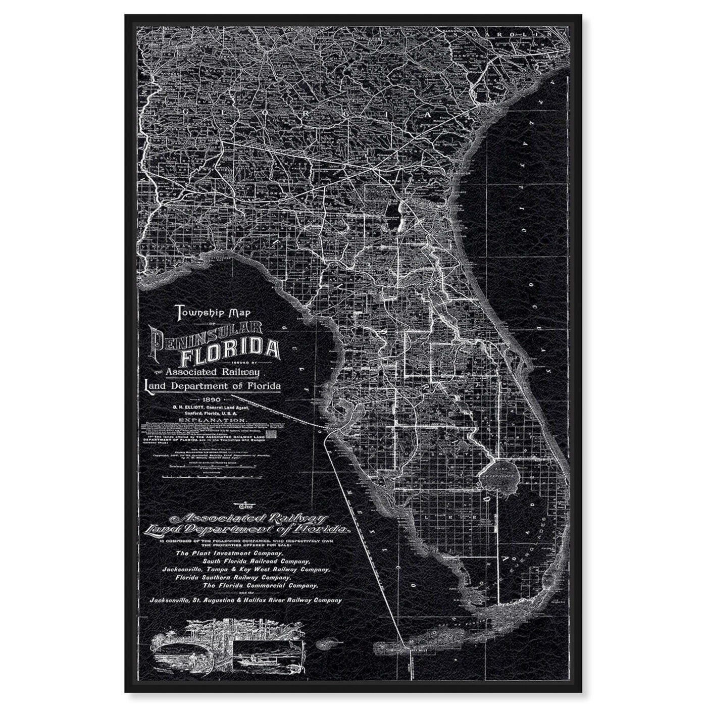 Front view of Florida Map 1890 featuring maps and flags and us states maps art.