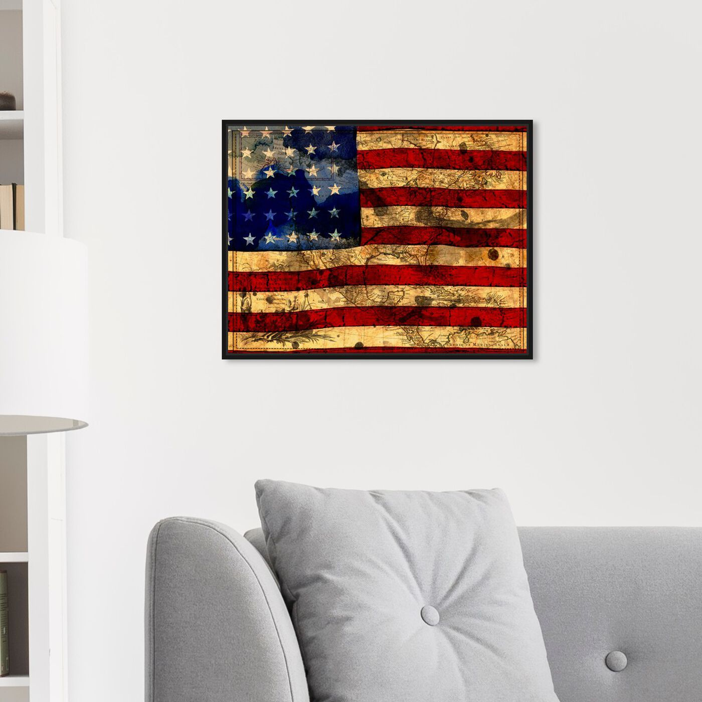 Hanging view of The Flag featuring maps and flags and american countries flags art.