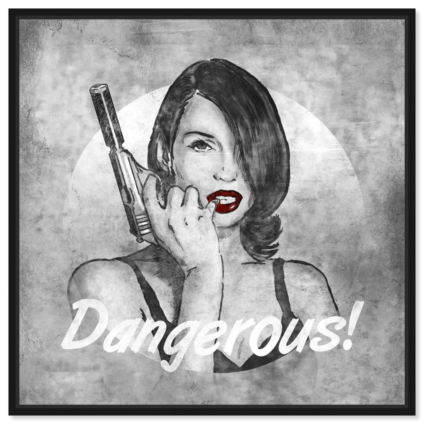 Front view of She's Dangerous featuring fashion and glam and lips art.