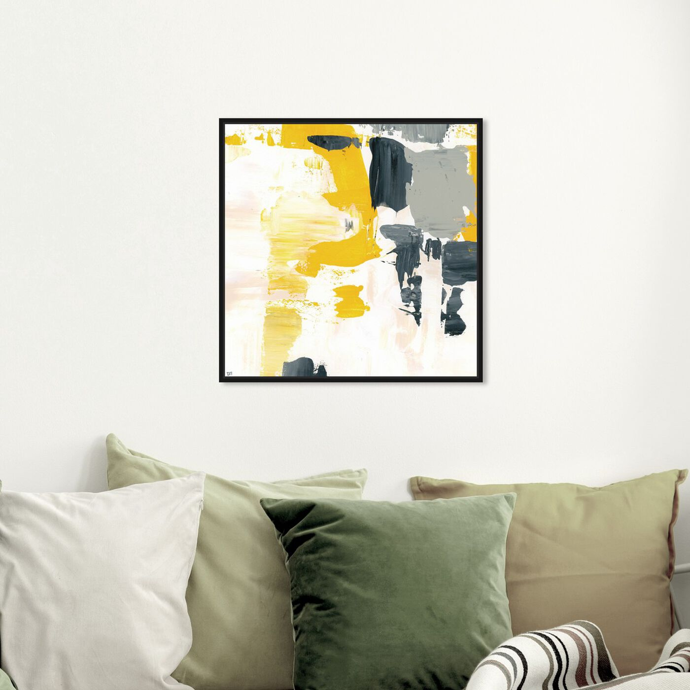 Hanging view of Gris Mostaza Yolk featuring abstract and paint art.