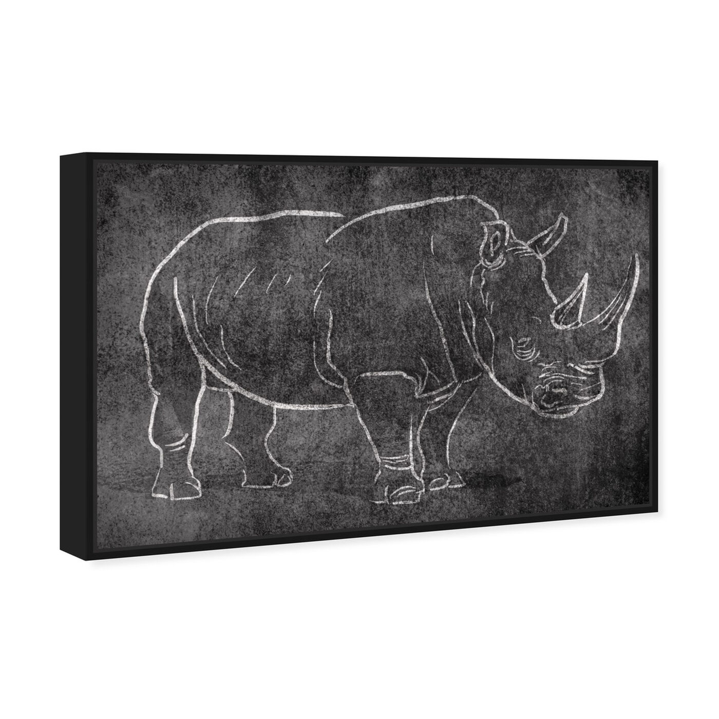 Angled view of Chalk Rhino featuring animals and zoo and wild animals art.