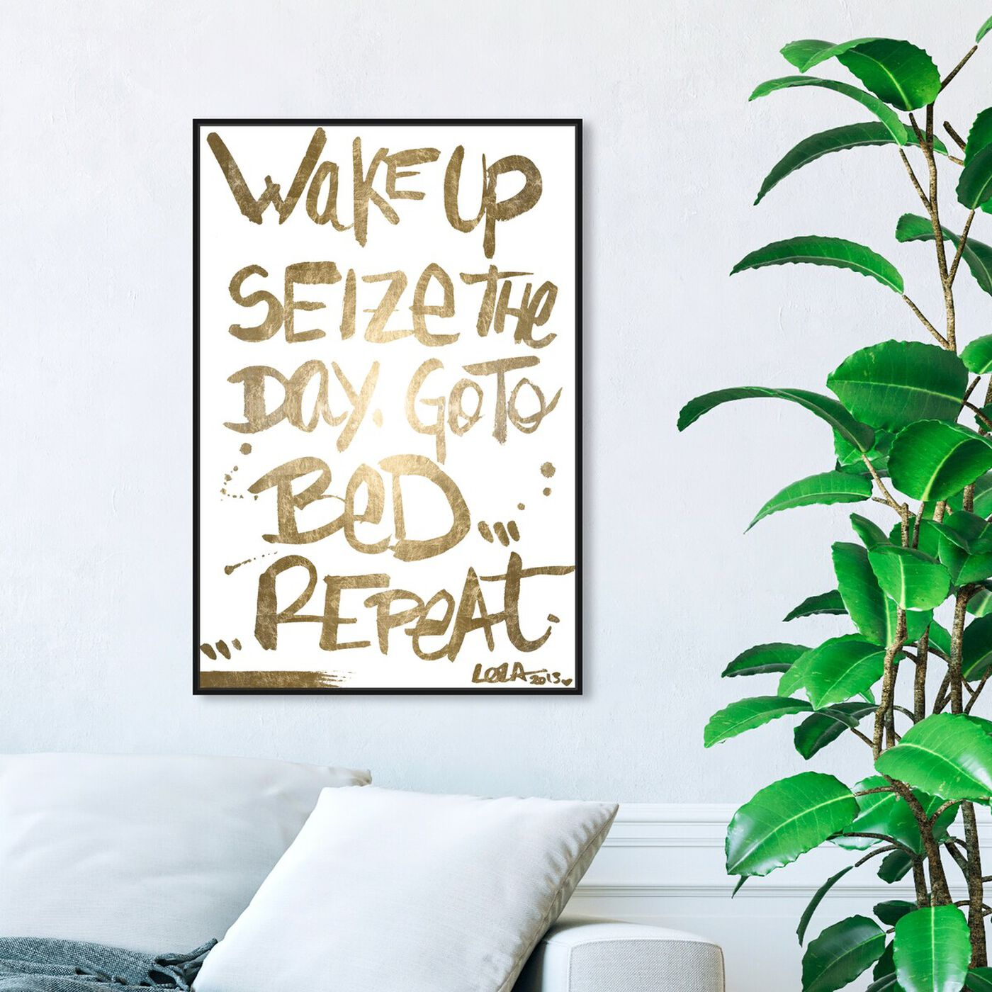 Hanging view of Seize The Day Gold Foil featuring typography and quotes and motivational quotes and sayings art.