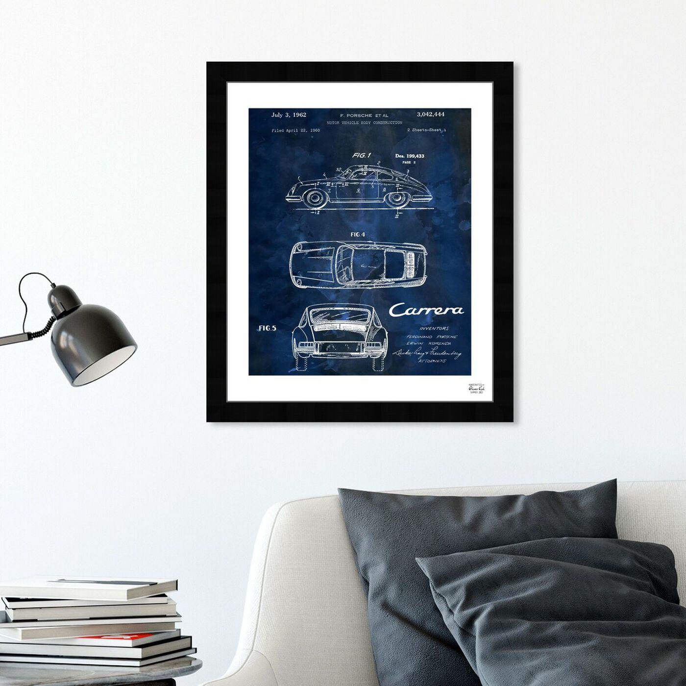 Hanging view of Carrera Porsche 1962 - Bleu featuring transportation and automobiles art.