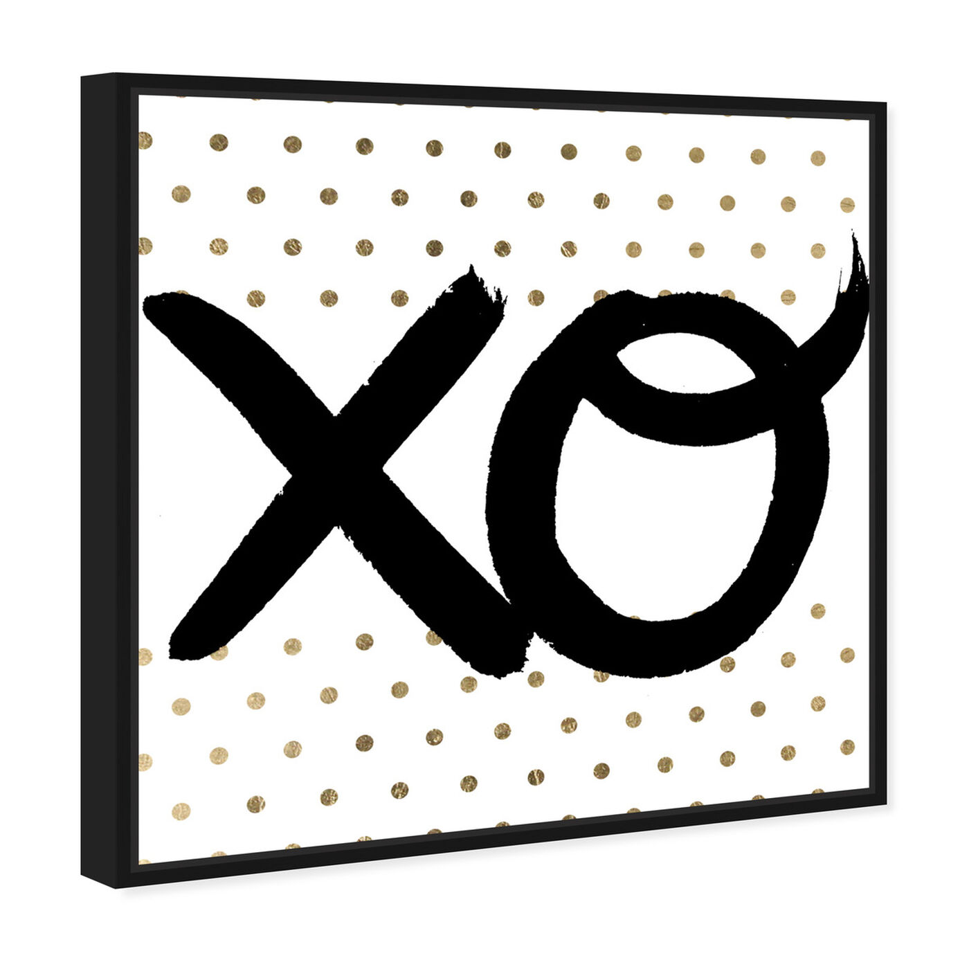 Angled view of XO featuring typography and quotes and signs art.