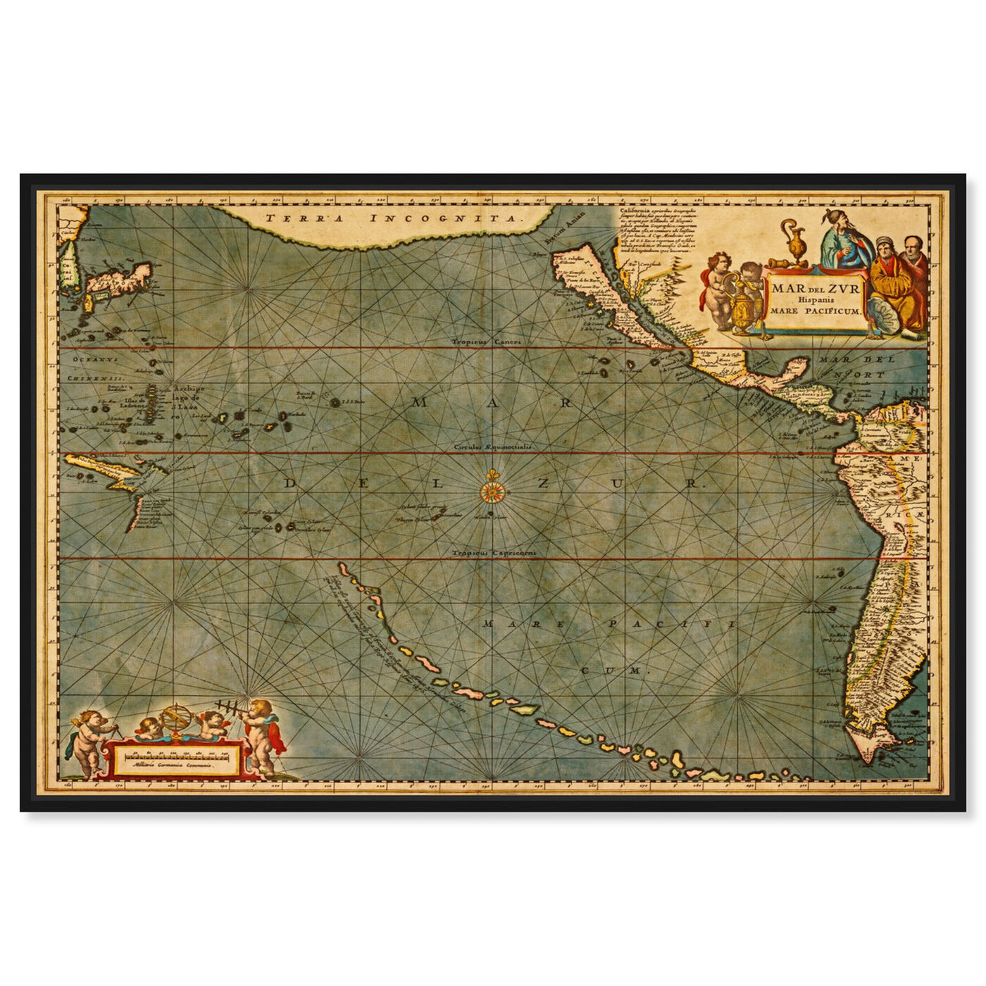 Front view of Mare Pacificum Map 1600s featuring maps and flags and nautical maps art.