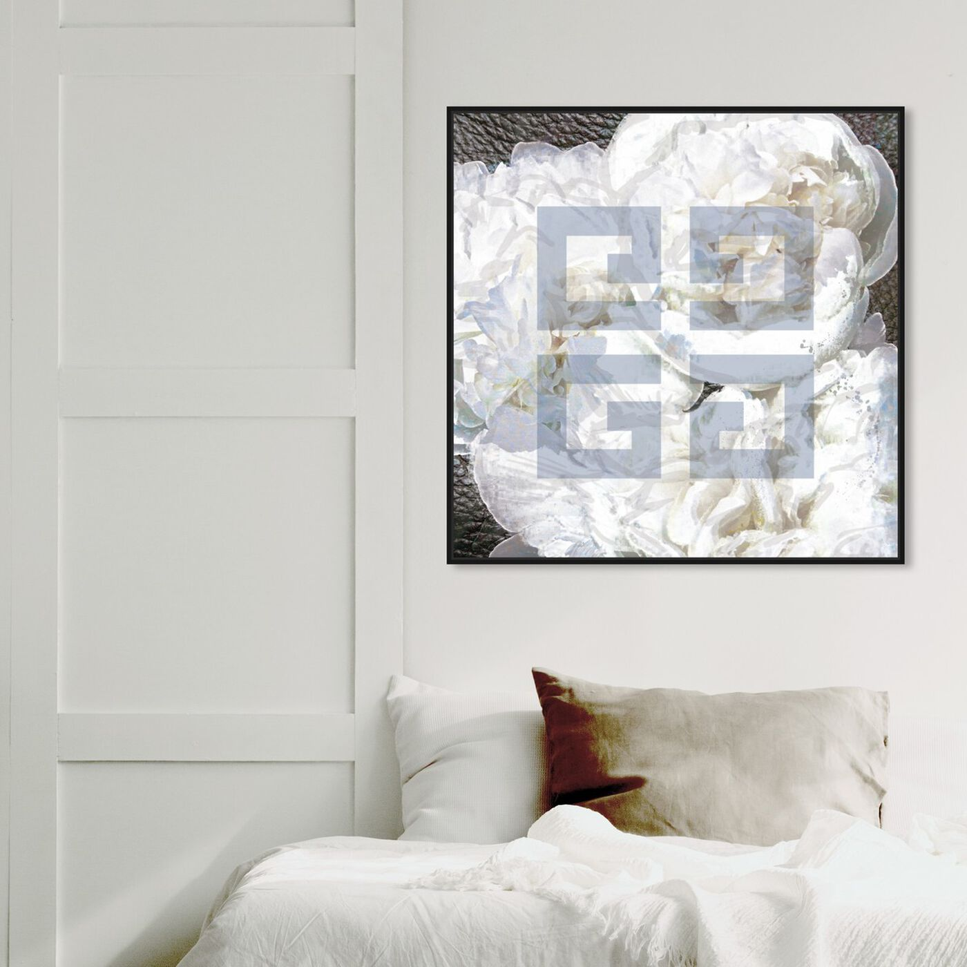 Hanging view of Dove White featuring abstract and textures art.