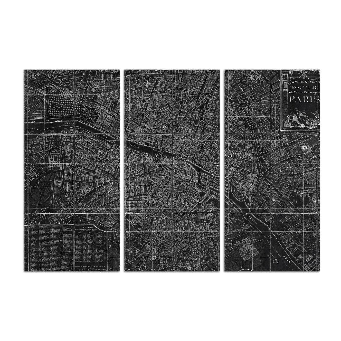 Nouveau Map Du Paris 1780 Triptych