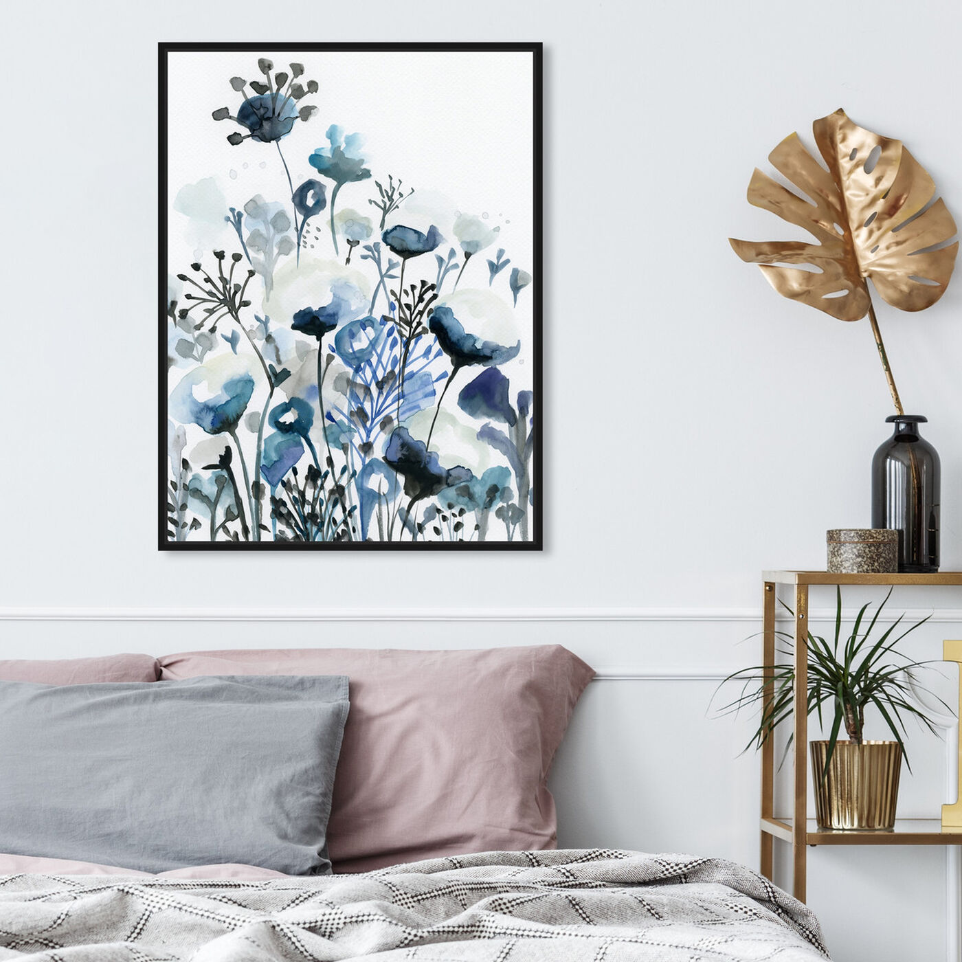 Hanging view of Deep Blue Forest featuring floral and botanical and gardens art.
