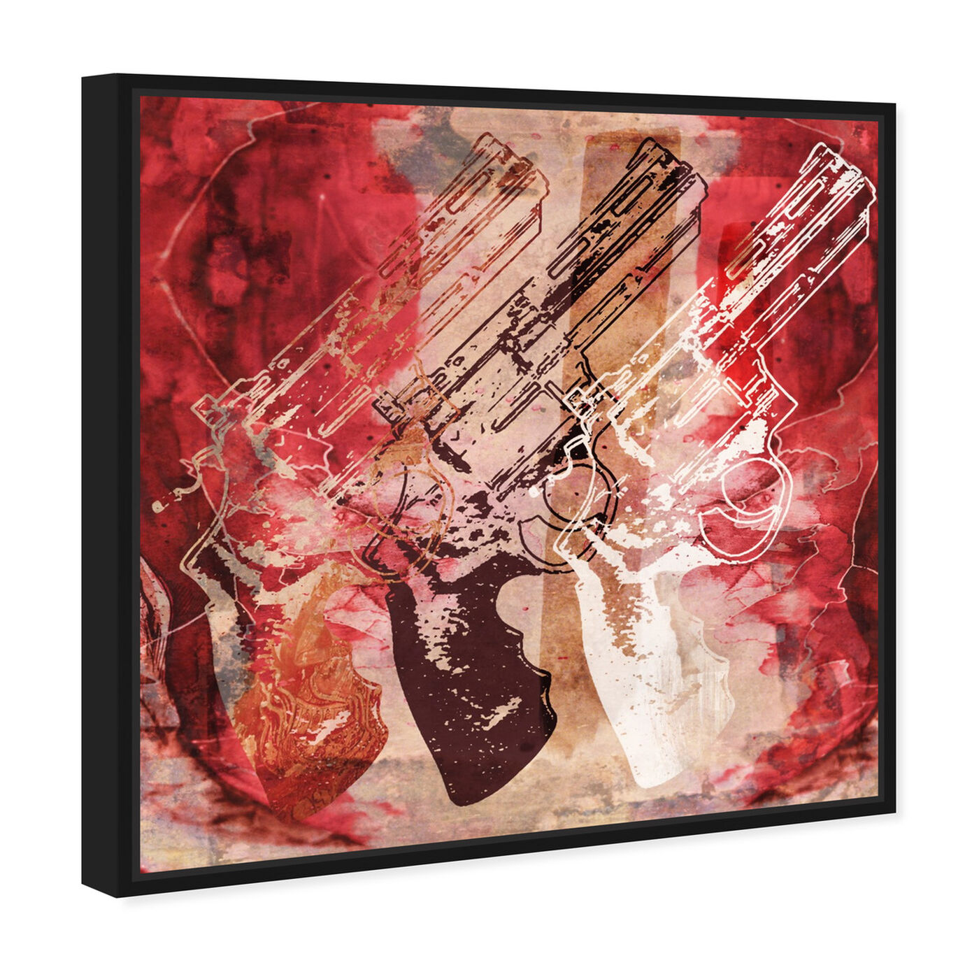 Angled view of Guns and Roses featuring entertainment and hobbies and machine guns art.