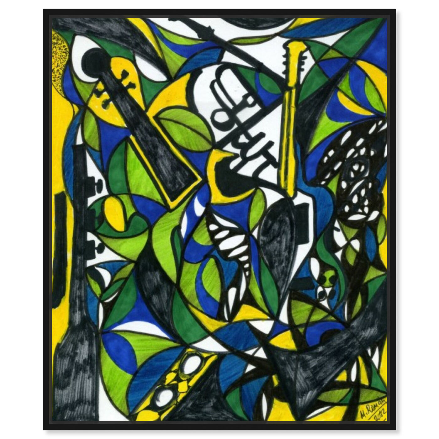 Front view of The Musicians featuring abstract and shapes art.