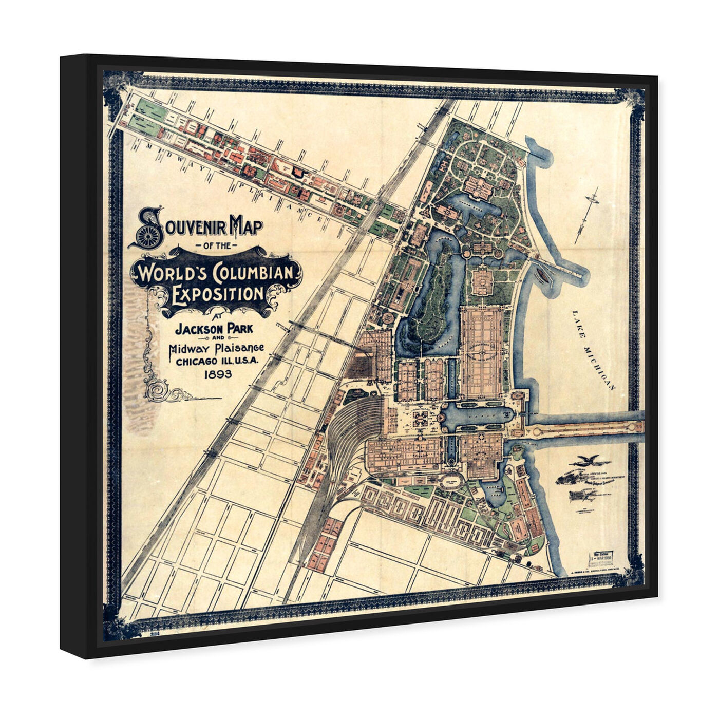 Angled view of Chicago Exposition Map 1893 featuring maps and flags and us cities maps art.
