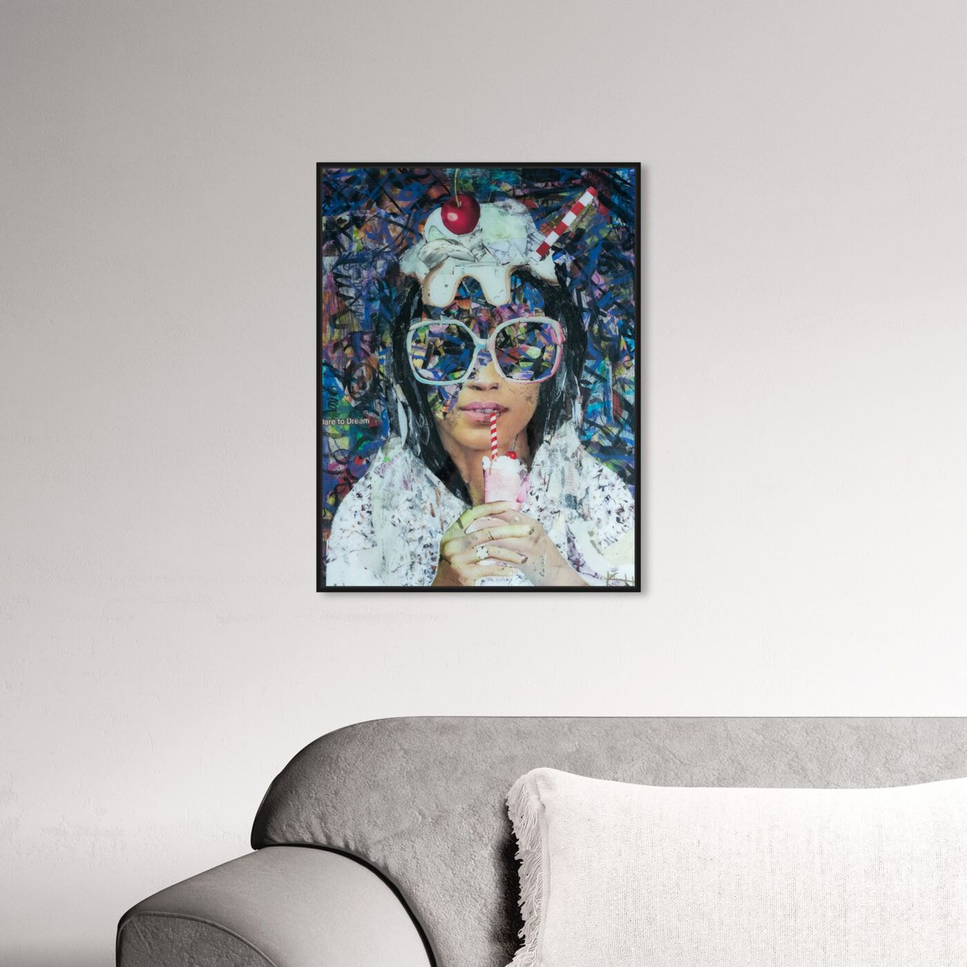 Hanging view of Milkshake Collage by Katy Hirschfeld featuring fashion and glam and portraits art.