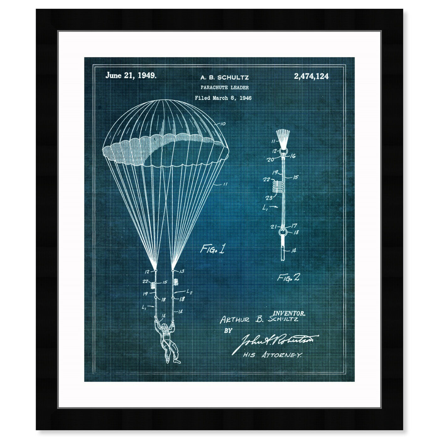 Front view of Parachute Leader 1949 featuring transportation and air transportation art.