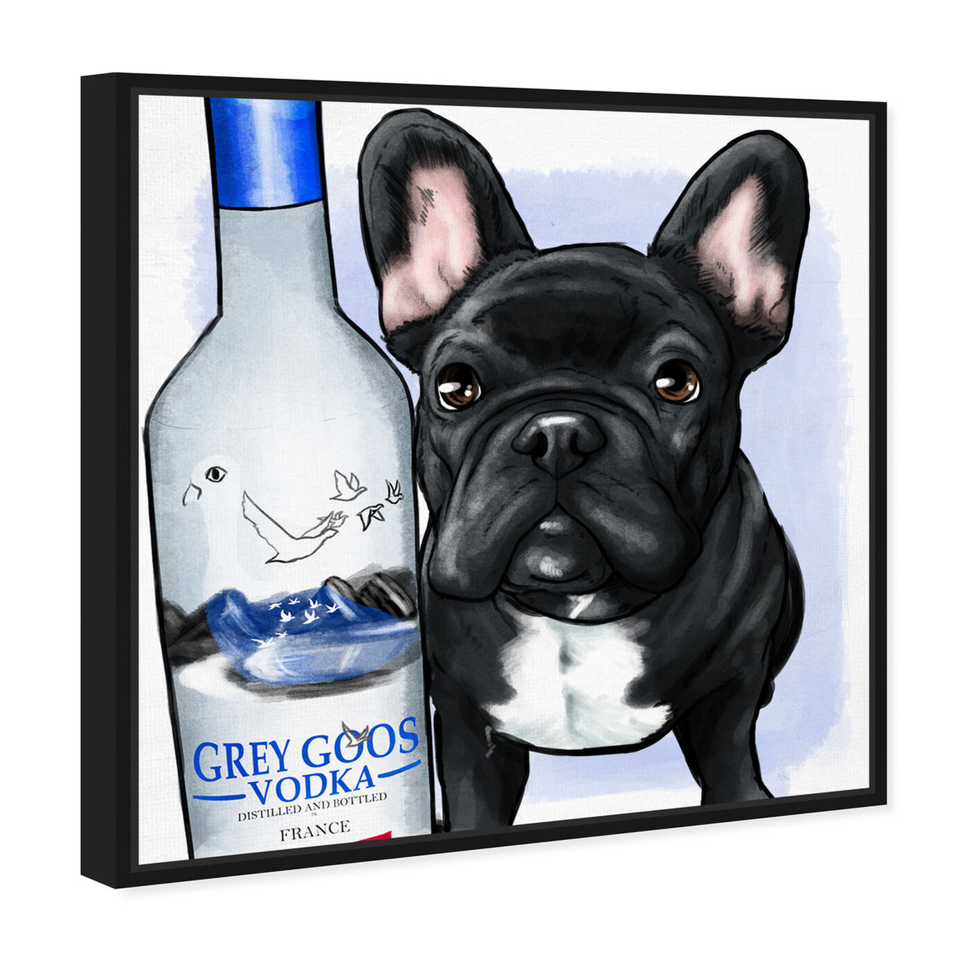 Angled view of Grey Goose Compagni No Scarf featuring animals and dogs and puppies art.