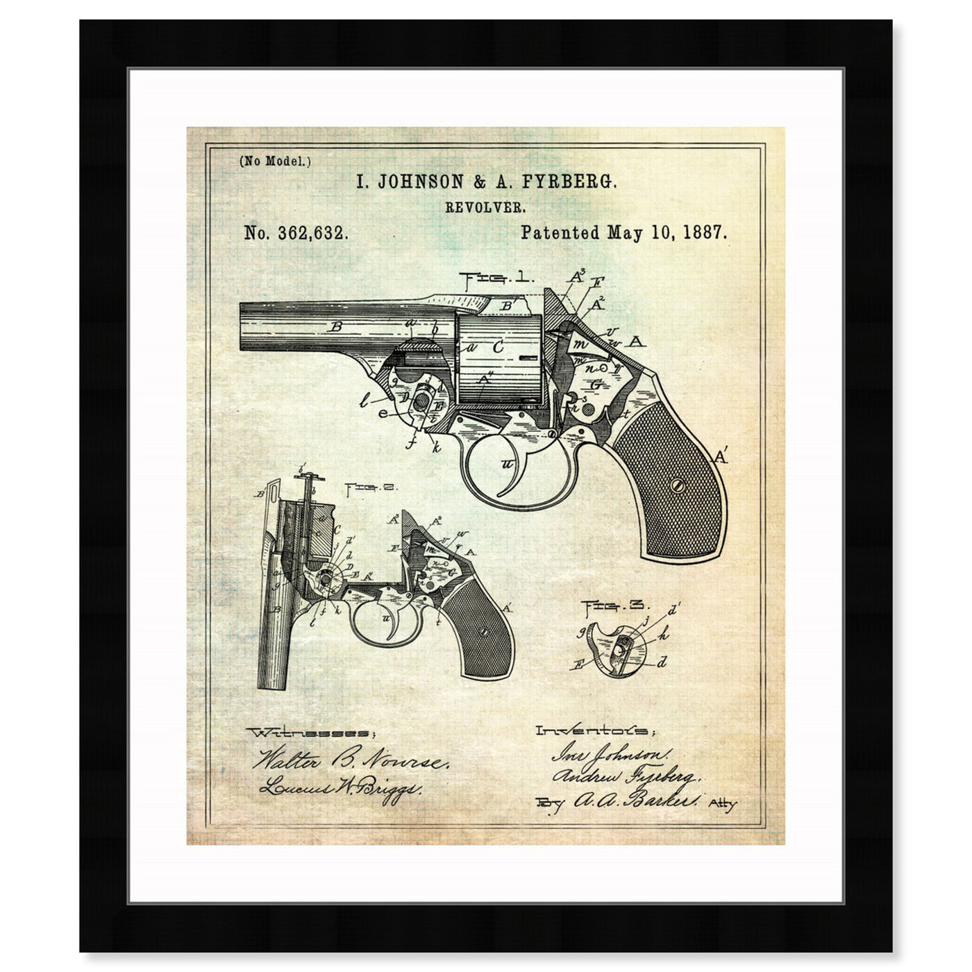 Front view of Revolver 1887 featuring entertainment and hobbies and machine guns art.