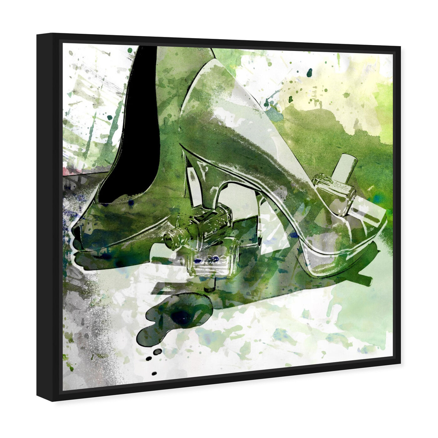 Angled view of Emerald Shoes featuring fashion and glam and shoes art.