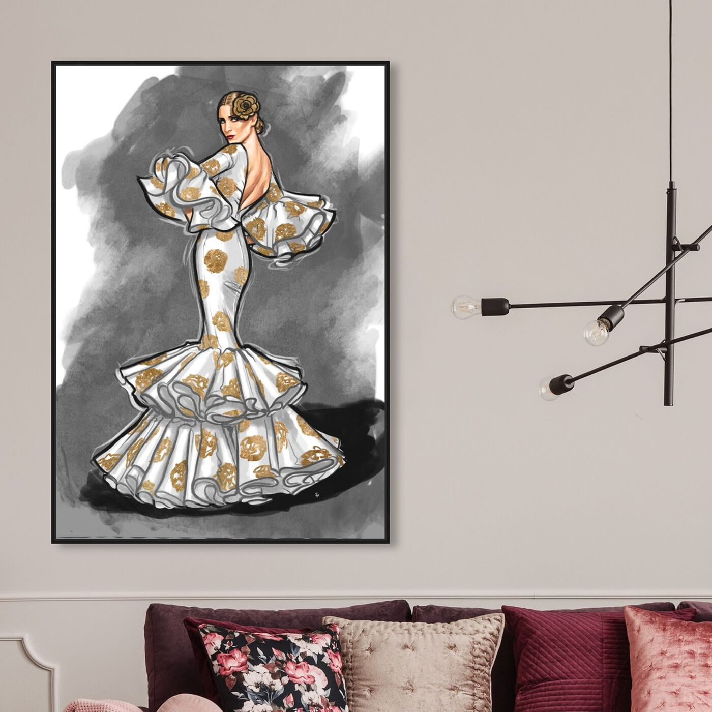 Hanging view of Flamenco Noir II featuring fashion and glam and dress art.