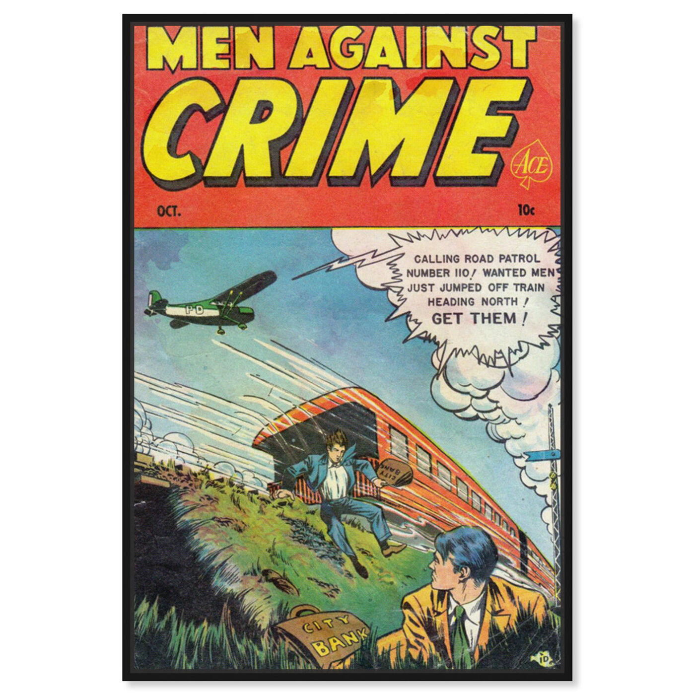 Front view of Men Against Crime No.7, 1951 featuring advertising and comics art.