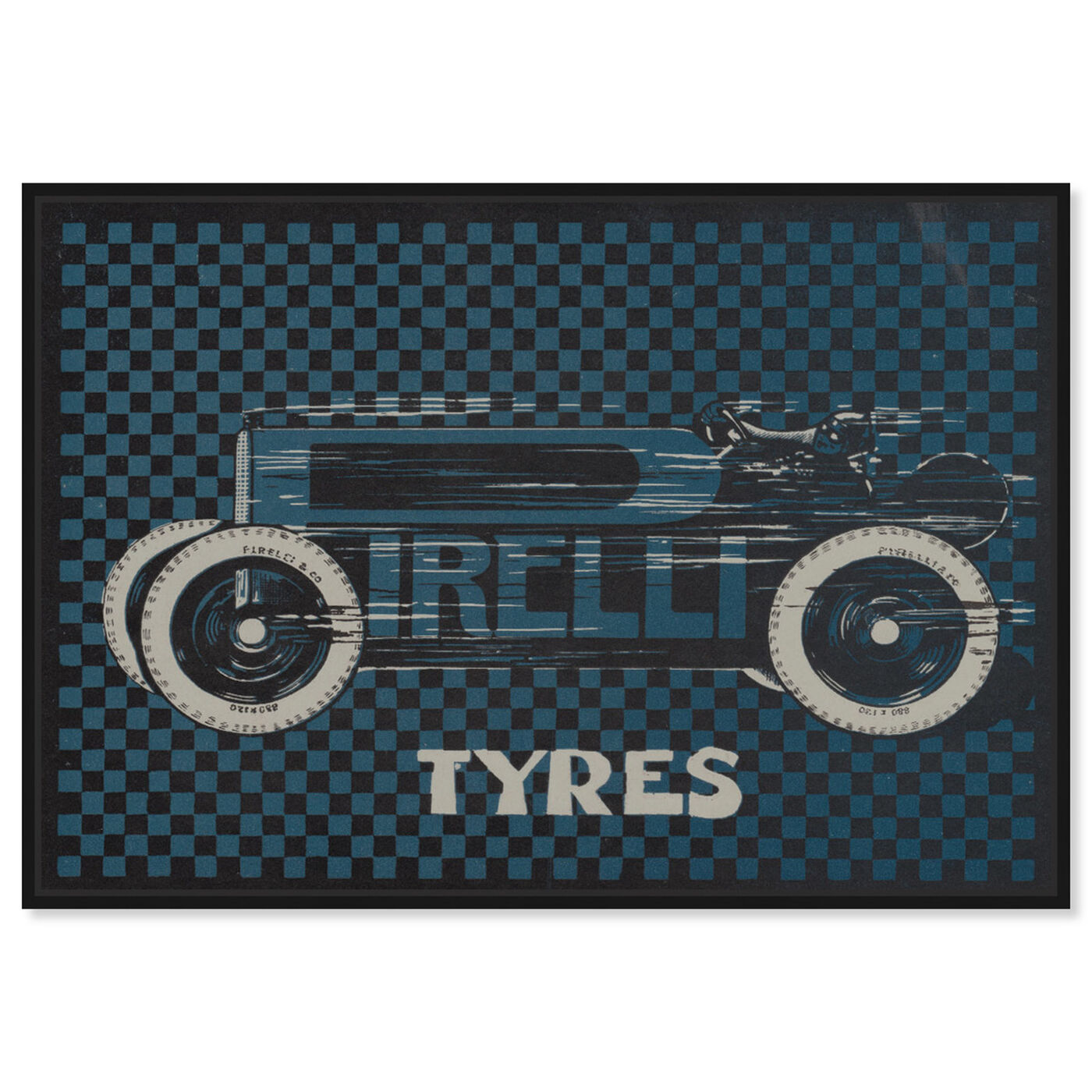 Front view of Tyres Checkered featuring transportation and automobiles art.