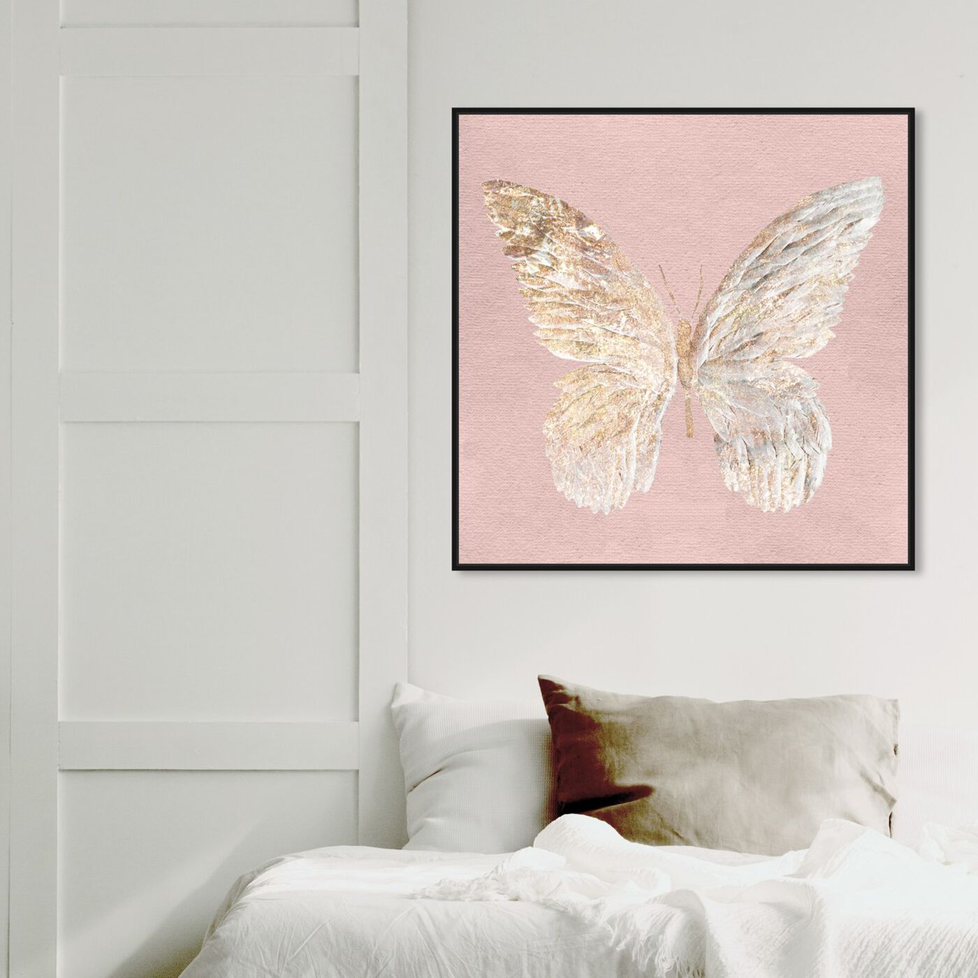 Hanging view of Golden Butterfly Glimmer Blush featuring animals and insects art.