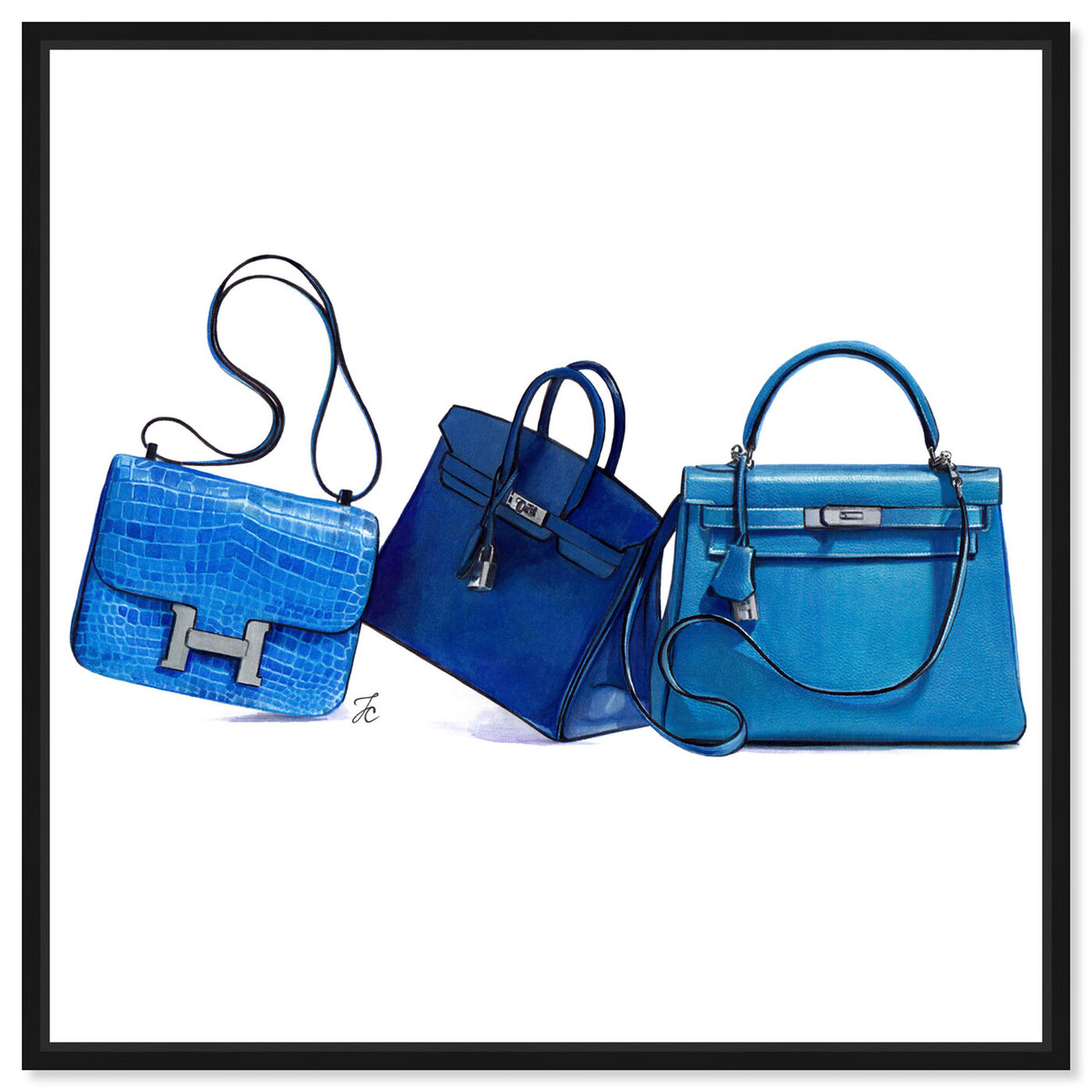 Front view of Doll Memories - Blue Shades II featuring fashion and glam and handbags art.