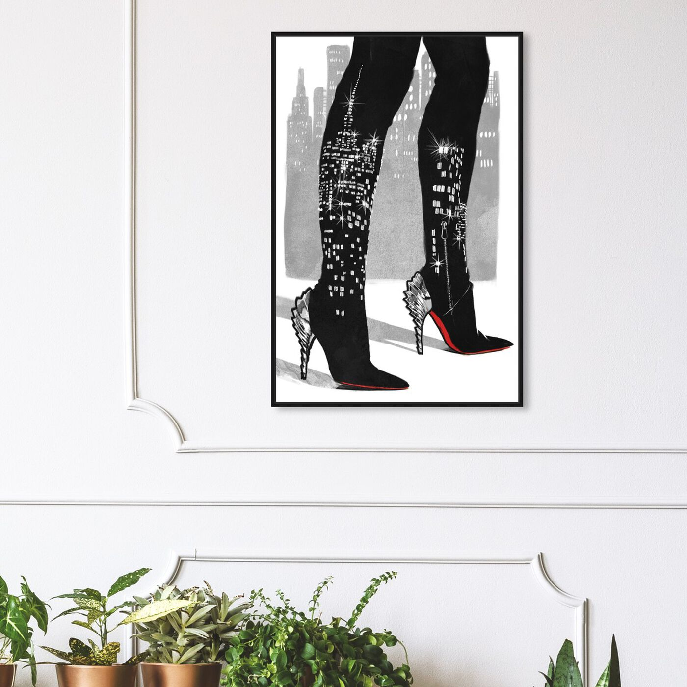 Hanging view of City Lights featuring fashion and glam and shoes art.