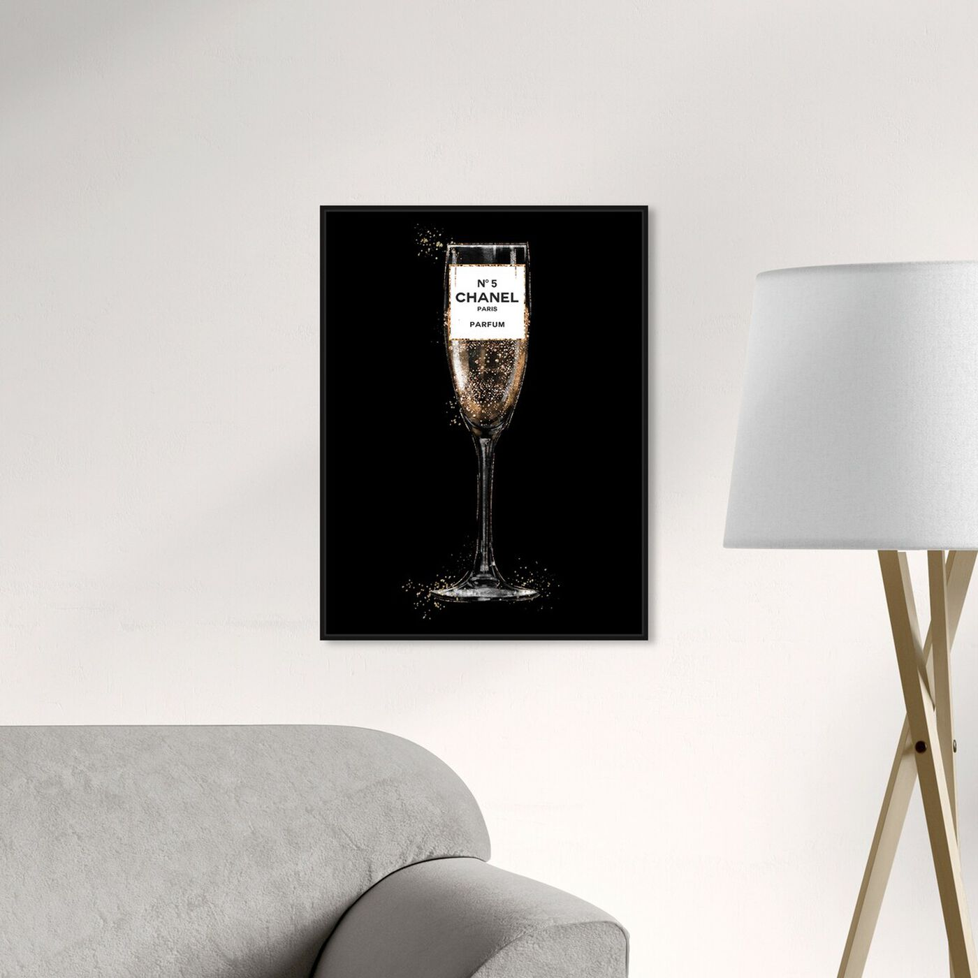 Hanging view of Glam Bubbly Champagne Perfume Black featuring fashion and glam and lifestyle art.