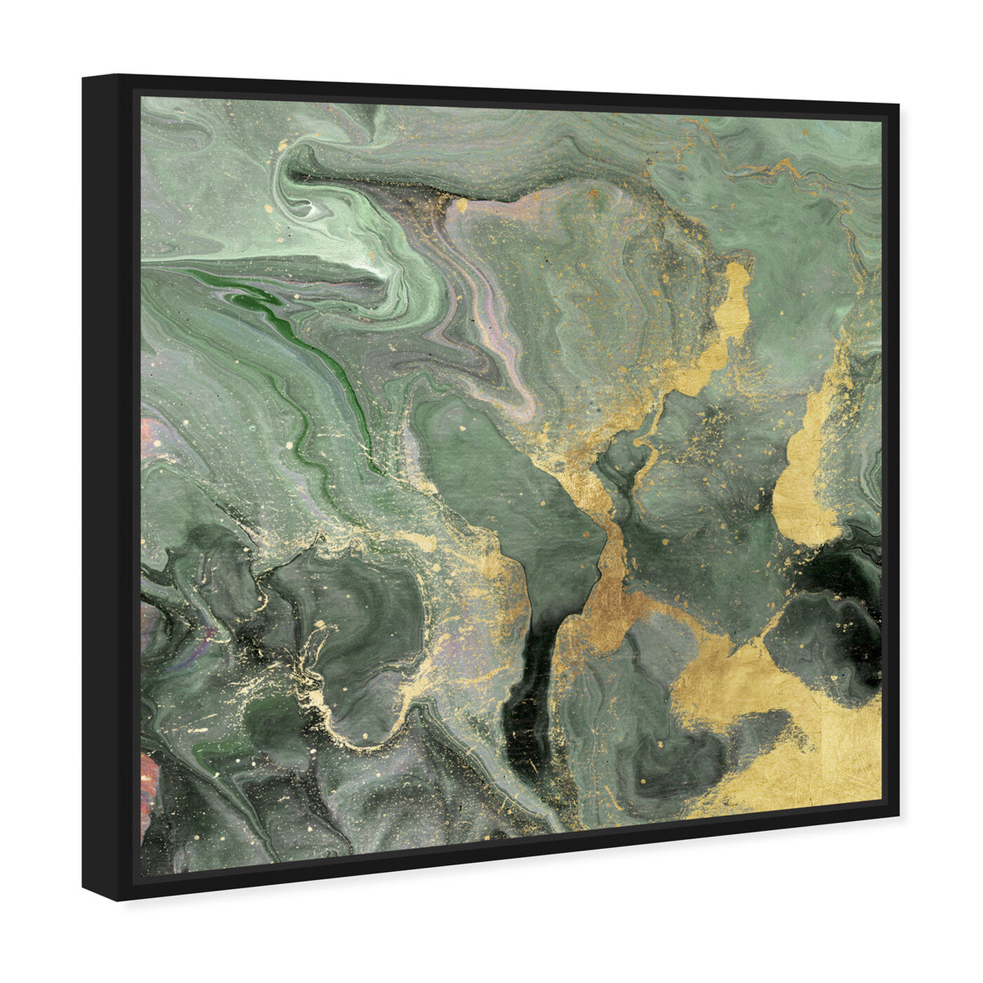 Angled view of Jade Cosmos featuring abstract and crystals art.