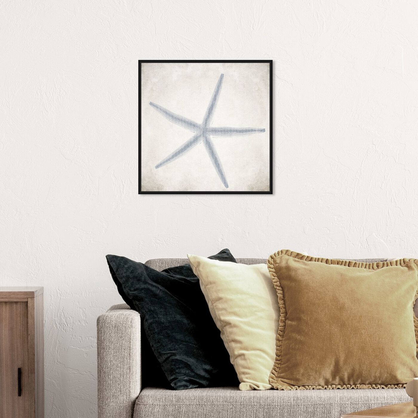 Hanging view of Starfish Grey featuring nautical and coastal and marine life art.