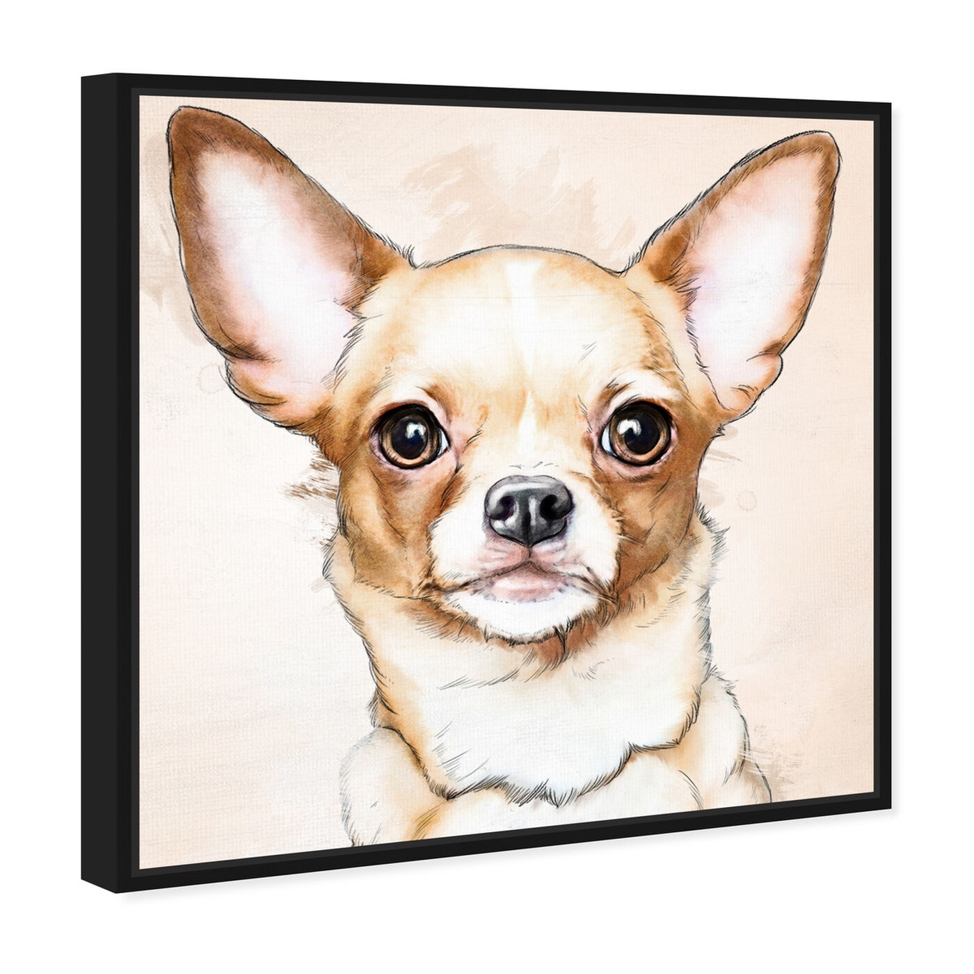 Angled view of Chihuahua Watercolor featuring animals and dogs and puppies art.